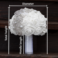 brooch bouquet broach bouquet white roses and silver brooches showing how to measure bouquet, straight across to get diameter