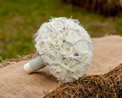 large cream ivory wedding bouquet with lace feathers tulle and bling sparkly diamante accent silk artificial flowers
