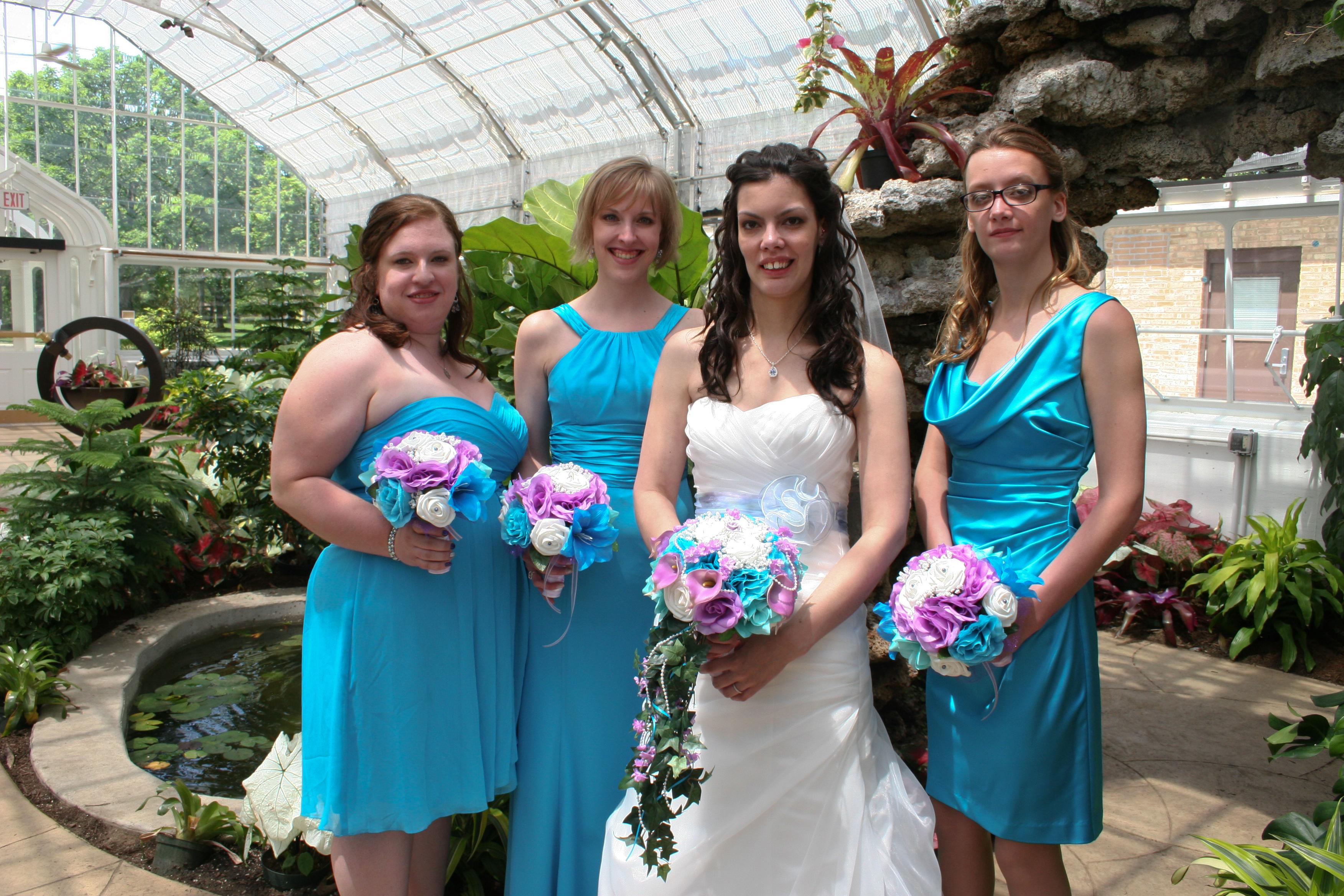 cascading silk wedding bouquet lavender malibu blue tiffany blue