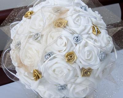 gold and silver wedding bouquet silk wedding flower
