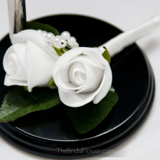silk wedding boutonniere double rosebud and pearls groom traditional classic