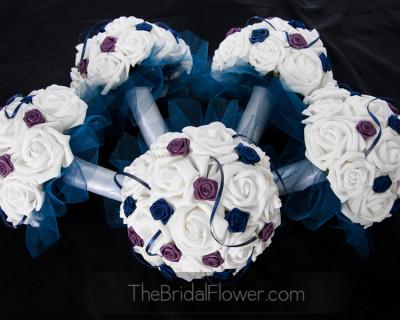 navy blue lapiz purple bridesmaid silk wedding bouquet white roses