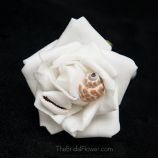 seashell wedding prom boutonniere button hole with shells