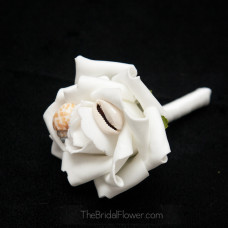 seashell boutonniere with two small shells simple groom groomsmen bridal party