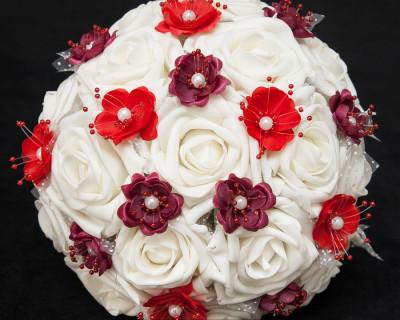 red burgundy silk wedding bouquet ivory roses silk