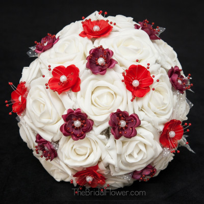 red burgundy silk wedding bouquet ivory roses silk