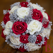 christmas wedding bouquet red ivory cream silver with glitter