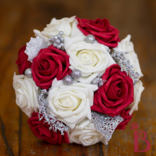 cream and red silk wedding bouquet holiday wedding bridesmaid bouquet