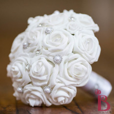 white wedding bouquet with sparkly silver gems and pearls simple traditional