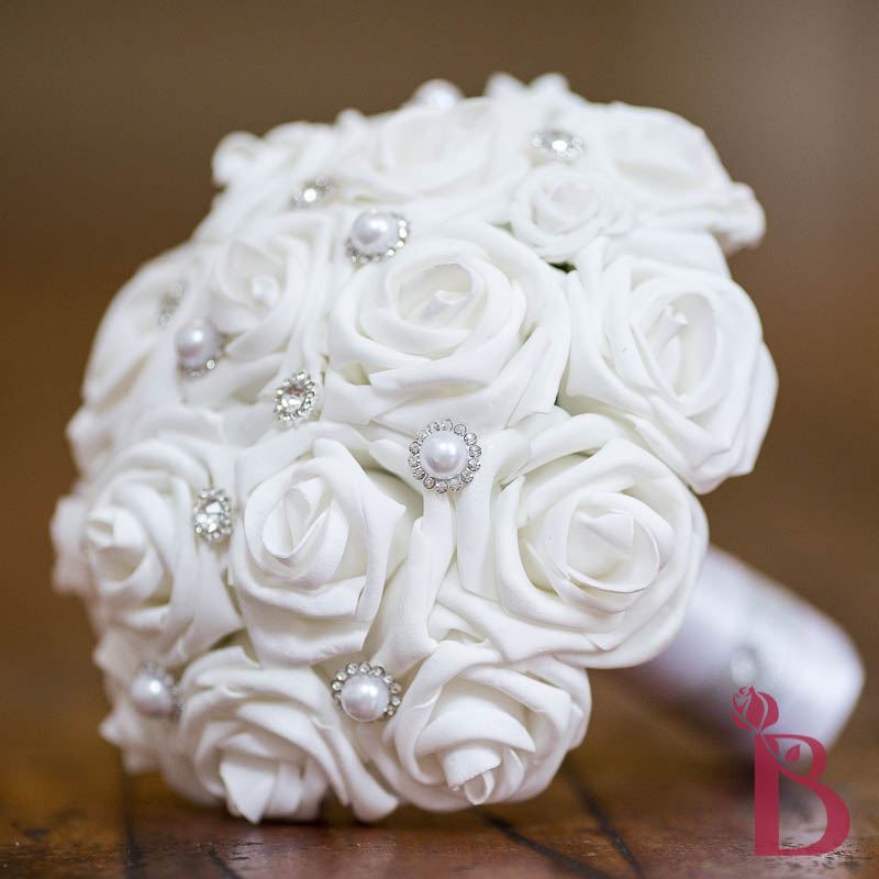 Silk Wedding Flowers In Maryland : White roses gems bouquet md more colors the bridal flower