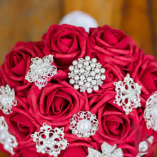 red rose silver brooch wedding bouquet broach traditional lady in red
