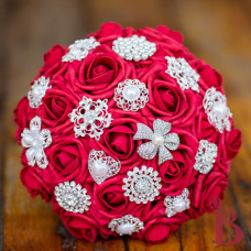 red rose brooch bouquet wedding soft touch realistic pearl brooch