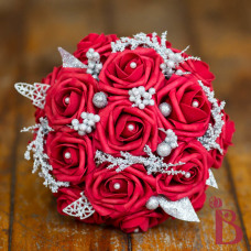 fake wedding bouquet red roses winter holiday wedding