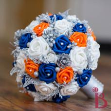 dark blue orange silk wedding bouquet silver pinecones