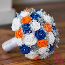 royal blue tangerine orange wedding bouquet silk wedding bouquet winter wedding accent silver
