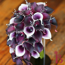 purple plum real touch calla lilies pearls real touch