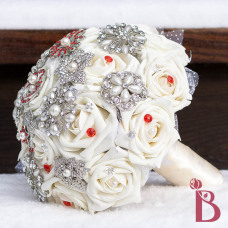 ivory cream red brooch bouquet broach wedding jewel bouquet pearl brooches