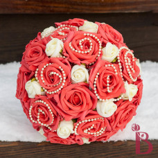 guava red coral silk wedding bouquet vintage romantic pearls ivory wedding
