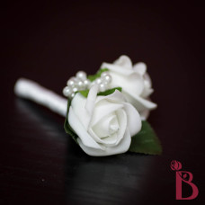 silk wedding rose bud white with pearls and leaves