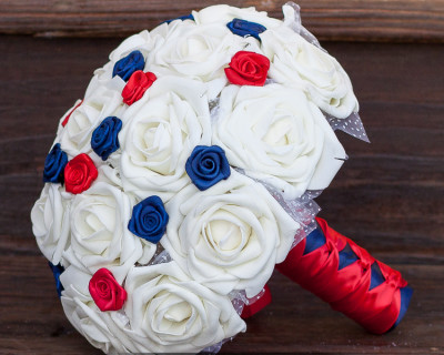 red white blue wedding bouquet navy blue ivory roes red and navy blue rosettes