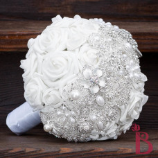 silver brooch bouquet white roses pearl broaches sparkly crystal