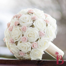 cream and pink silk wedding bouquet soft touch rose bouquet in ivory and blush pink