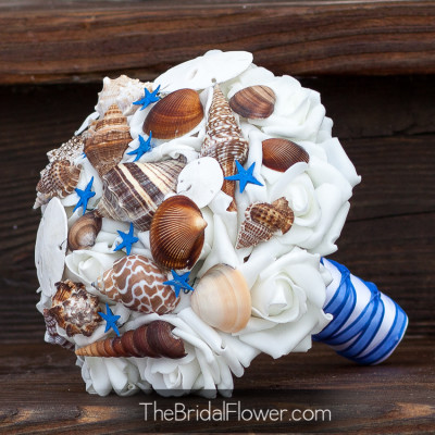 royal blue seashell bouquet brown shells