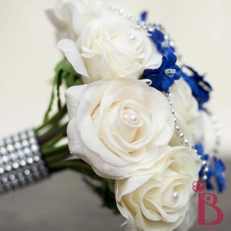 Royal Blue And Ivory Wedding Bouquets : Ivory roses bouquet with royal blue and silver accents