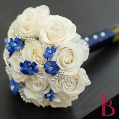 cream and navy wedding bouquet real touch roses