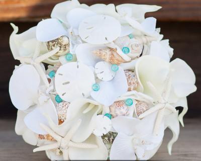 starfish sand dollar tiffany blue seashell bouquet custom made beach wedding destination wedding