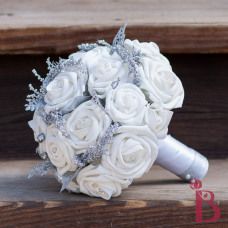 silk wedding bouquet for winter wedding silver glitter and white soft touch roses