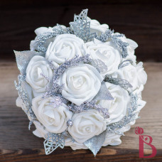 winter wonderland bridesmaid bouquet for maid of honor winter wedding silver white