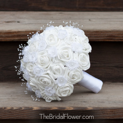 white wedding bouquet pearls classic bouquet