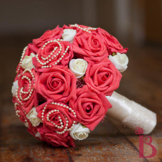 Guava soft red coral and ivory bouquet with pearls and artificial roses victorian feel style vintage