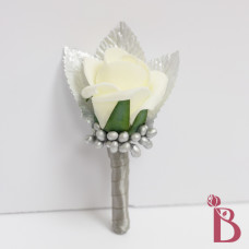 rosebud wedding boutonniere gray platinum berries leaves silver