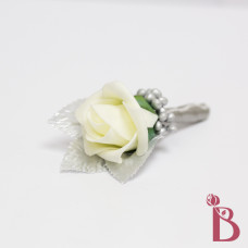gray and ivory boutonniere with berries platinum ribbon