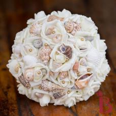 old gold vintage beach bouquet wedding with sea shells brown and sand colored