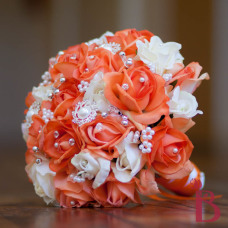 real touch wedding bouquet roses and pearls brooches