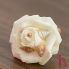 gold wedding boutonniere with pearl pin old gold vintage seashell boutonniere