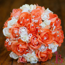 orange and cream real touch wedding bouquet pearls gems brooch