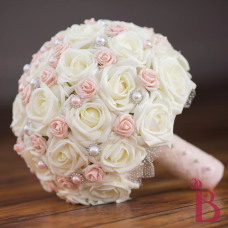 blush pink and ivory chic wedding bouquet with pearls and lace