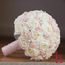 blush pink and chic silk wedding bouquet with pearls lace and pearl pins and tulle