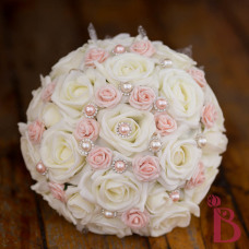 wedding bouquet with pearls and lace pink and ivory