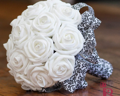 white and black damask silk wedding bouquet white roses and damask ribbon great for weddings