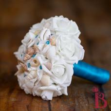 turquoise malibu blue sea shell bouquet silk flowers beach wedding