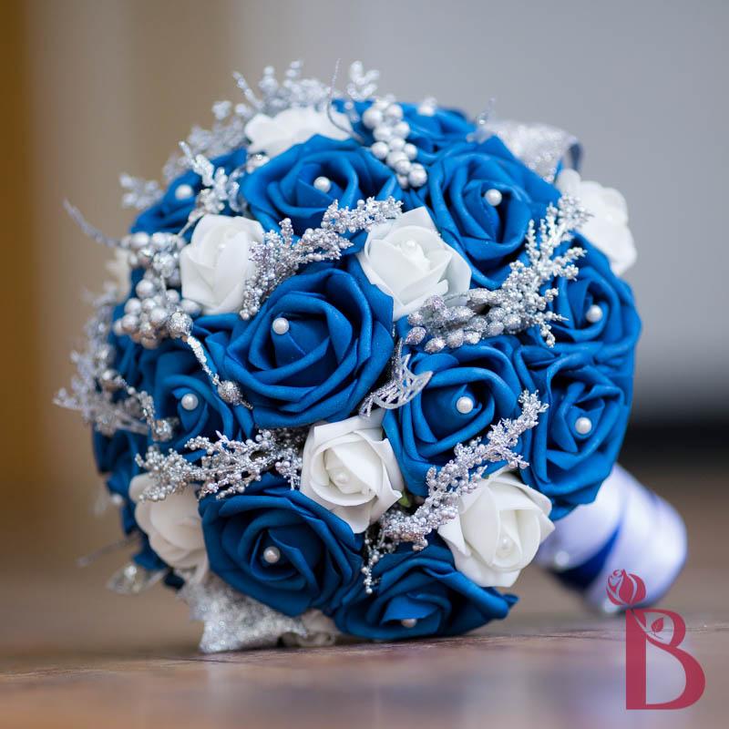 Winter Wedding Blue Silk Wedding Bouquet 75
