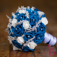 side view of royal bouquet with silver and white accent
