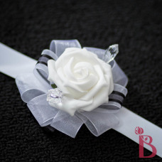 white and black wrist corsage wedding with crystals and white rose