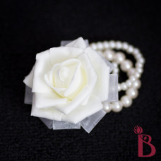 cream wedding corsage on pearl bracelet soft touch rose