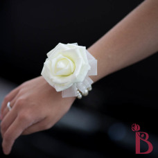 realistic look wedding corsage with soft touch rose cream ivory pearls vintage